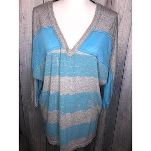 FREE PEOPLE 3/4 Sleeve V-Neck Striped T-Shirt M
